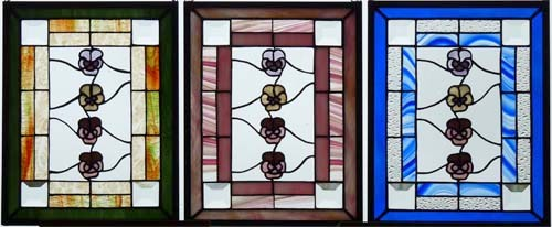 3 panels with glass flowers